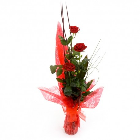 3 Red Roses in a Vase